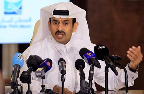 Bộ trưởng Năng lượng Qatar - Saad al-Kaabi trong một cuộc họp báo. Ảnh: Reuters.