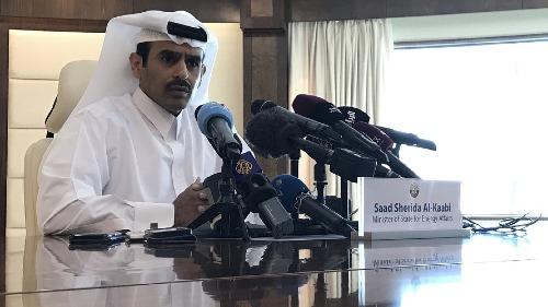 Bộ trưởng Năng lượng Qatar - Saad Sherida al-Kaabi trong buổi thông báo hôm qua. Ảnh: AFP