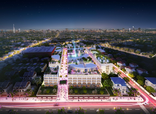 Phối cảnh toàn khu D-One Sài Gòn với lợi thế hai mặt tiền đường. Hai bên tuyến phố đi bộ dài hàng trăm mlà hàng loạt các cửa hàng, nhà hàng, cà phê... đáp ứng nhu cầu giải trí, vui chơi của giới trẻ Bắc Sài Gòn.