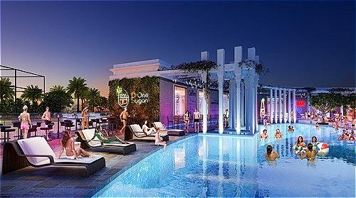 D-One Sài Gòn còn sở hữu hệ thống hồ bơi đáy kính với tổng diện tích 500m2, kèm theo khu vực bar, pub cho giới trẻ.