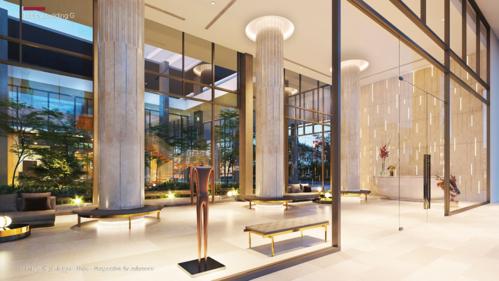 Lần đầu tiên, Phú Mỹ Hưng đưa ýtưởng biến sảnh đón thành không gian trưng bày các tác phẩm nghệ thuật điêu khắc, hội họa và ánh sáng - art gallery. Thiết kế của chúng tôi cho sảnh M8B mang lại một không gian mô phỏng các bảo tàng nghệ thuật, cho phép cư dân thưởng lãm và trải nghiệm giá trị văn hóa ngay dưới căn hộ mà không cần phải đợi đến những chuyến đi xa hoặc du lịch nước ngoài, đại diện Vertical Studio cho biết.