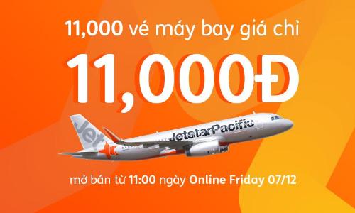 Jetstar Pacific tung vé 11.000 đồng dịp Online Friday