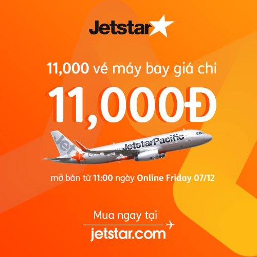 Jetstar tung nhiều vé ưu đãi giá từ 11.000 đồng.