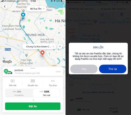 Giá dịch vụ GrabCar tăng gấp hơn 2 lần ngày thường, trong khi FastGo cũng không có xe để phục vụ khách.