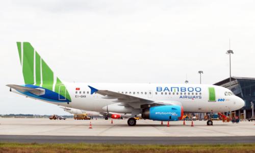 Máy bay Airbus A319 của Bamboo Airways tại sân bay Nội Bài.