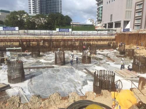 Tiến độ thi công Beau Rivage đến tháng 12/2018 đã đổ bê tông sàn tầng hầm.