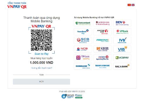 Một mã VNPAY-QR kèm theo số tiền sẽ hiển thị trên màn hình website thanh toán.