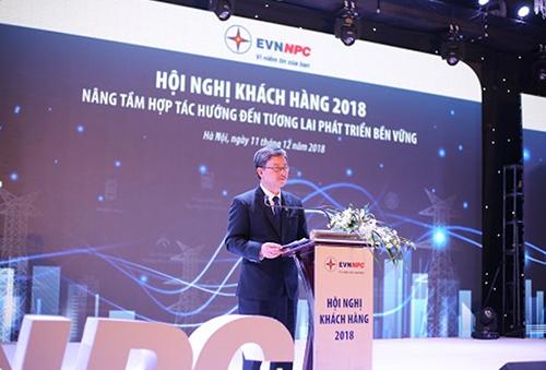Phó tổng giám đốc EVNNPC Lê Quang Thái phát biểu tại Hội nghị tri ân khách hàng năm 2018.