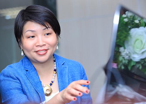 Bà Winnie Wong - Quản lý khu vực Đông Dương của tổ chức phát hành thẻ MasterCard. Ảnh: Hữu Khoa.