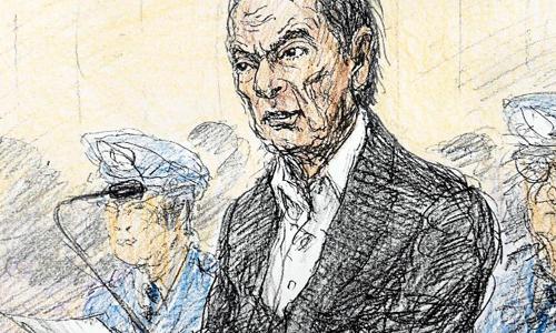 Một họa sĩ khắc họa dáng vẻ của Carlos Ghosn trong phiên tòa cấm ghi hình tại Tokyo đầu tuần này. Ảnh: CNN