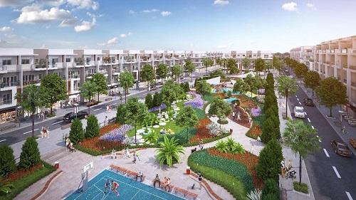 Nhà phố thương mại nằm trên các trục đường chính của dự án với công năng đa dạng.
