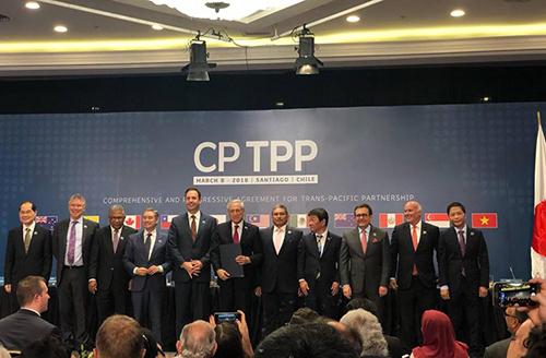 Đại diện 11 nước thành viên ký CPTPP tại Chile vào tháng 3/2018. Ảnh: Reuters