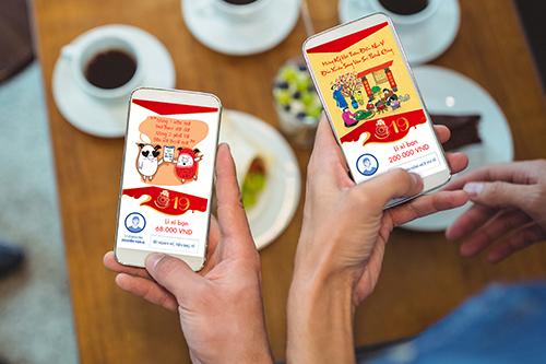Khách hàng có thể gửi tiền lì xì kèm thiệp chúc Tết sáng tạo và ý nghĩa cho người thân, bạn bè qua ứng dụng Sacombank Pay.