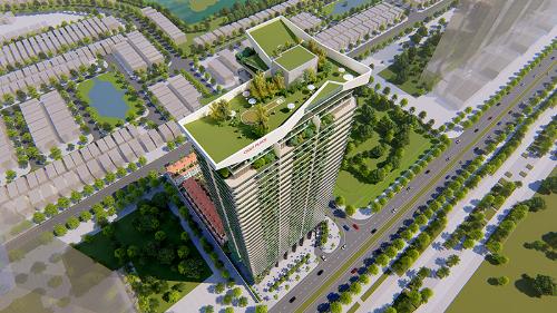 Sân golf trên cao kết hợp với bãi đậu trực thăng trên nóc tòa nhà.