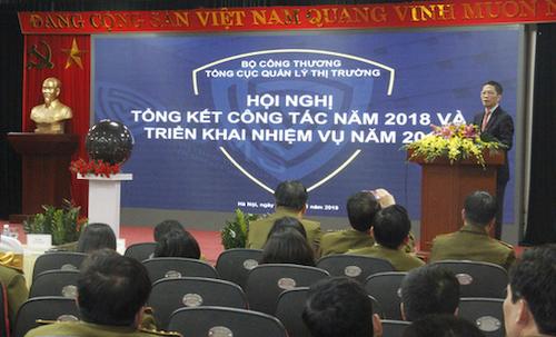 Bộ trưởng Trần Tuấn Anh phát biểu tại hội nghị tổng kết quản lý thị trường 2018. Ảnh: HT