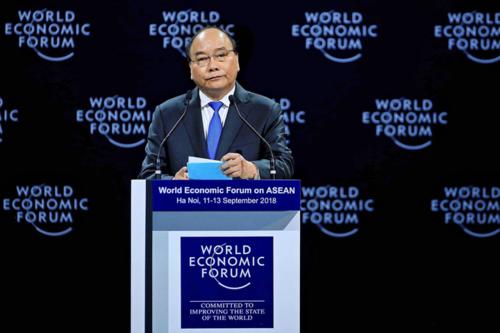 Thủ tướng Nguyễn Xuân Phúc tại WEF ASEAN năm ngoái ở Việt Nam. Ảnh: Giang Huy