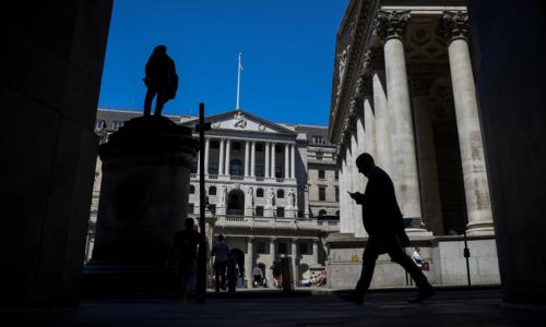 Phía trước Ngân hàng Anh tại thành phố London, Anh. Ảnh: Bloomberg