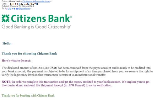 Email mạo danh Citizens Bank yêu cầu chị Mỹ gửi hóa đơn chứng minh đã chuyển hàng đểnhận tiền.
