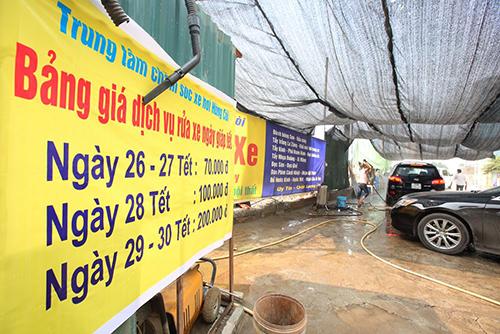 Giá niêm yết tại một tiệm rửa xe lớn ở Hà Nội. Ảnh: Ngọc Thành