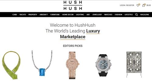 Hush Hush là website chuyên bán hàng xa xỉ trực tuyến. Ảnh chụp màn hình