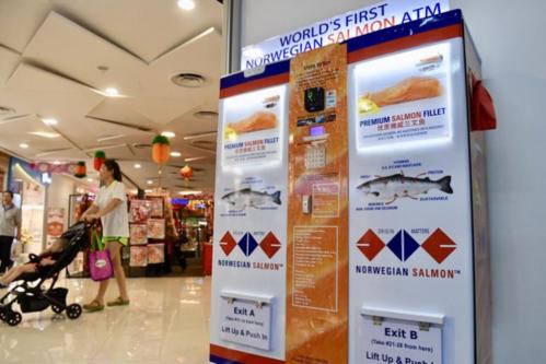 ATM cá hồi được lắp ở một trung tâm thương mại. Ảnh: The Straits Times