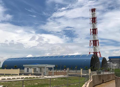 Kho chứa than Nhà máy Nhiệt điện Thái Bình. Ảnh: H.Thu