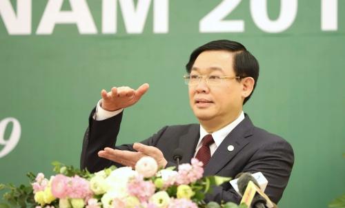 Phó thủ tướng Vương Đình Huệ tại Hội nghị triển khai nhiệm vụ thị trường chứng khoán 2019. Ảnh: Q.Phúc