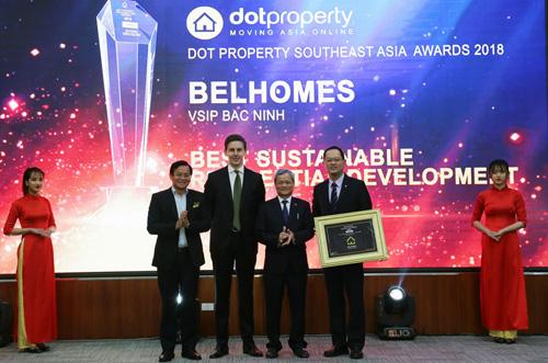 VSIP Bắc Ninh nhận giải thưởng Dự án Đô thị phát triển bền vững tốt nhất Đông Nam Á.