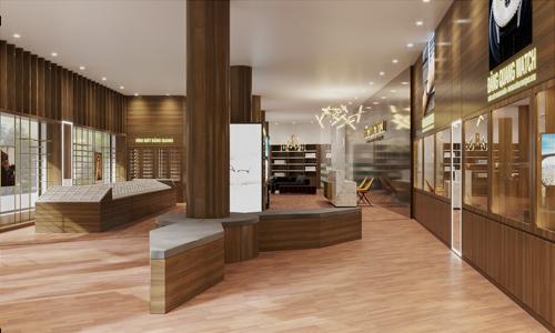Showroom trưng bày đa dạng các sản phẩm đồng hồ, kính mắt cao cấp.