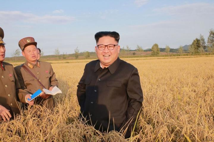 Lãnh đạo Triều Tiên - Kim Jong-un đến thăm một trang trại. Ảnh: AFP