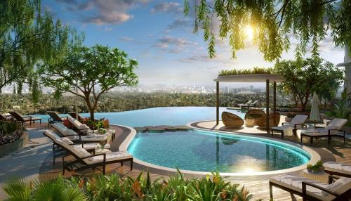 Phối cảnh 3D tiện ích bể bơi vô cực tại The Zen Residence