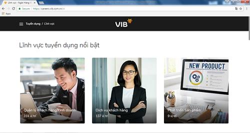 VIB đăng tuyển trên website tuyển dụng https://careers.vib.com.vn/ hơn 500 vị trí, trong đó có nhiều vị trí chủ chốt.
