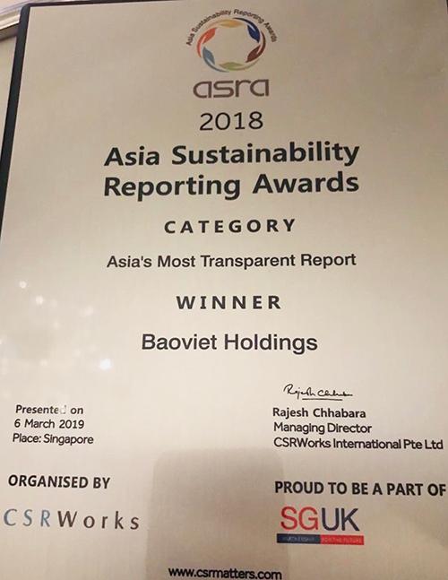 Bảo Việt đạt giải Báo cáo phát triển bền vững tốt nhất châu Á - 1