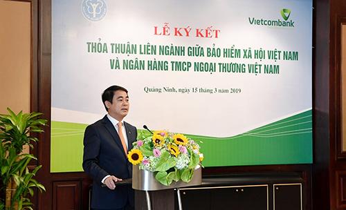 Ông Nghiêm Xuân Thành - Chủ tịch Hội đồng quản trị Vietcombank phát biểu tại buổi lễ.