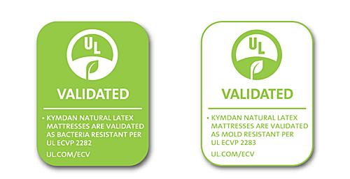 Các sản phẩm nệm Kymdan có khả năng kháng được vi khuẩn và kháng nấm mốc đã được Tổ chức UL - Underwriters Laboratories Hoa Kỳ chứng nhận.