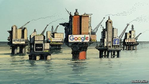 Bức vẽvídữ liệu như nguồn dầu mỏ giúp các đại gia công nghệ làm giàu đăng trên The Economist.