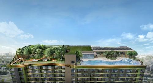 Phối cảnh mảng xanh trên mái của tòa nhà Line Phahonyothin Park. Website: sansiri.com.