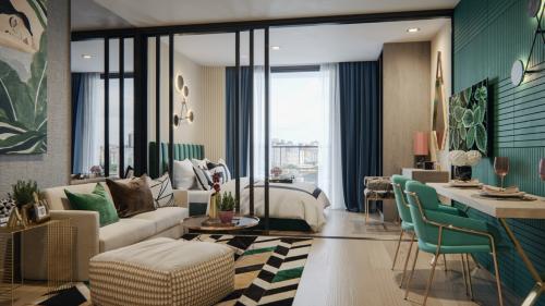 Phối cảnh căn hộ Line Phahonyothin Park chú trọng thiết kế rộng thoáng, cấp điện một phần từ năng lượng mặt trời, áp dụng công nghệ nhà thông minh.