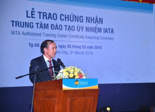 Ông Đỗ Như Phụng - Giám đốc IATA tại Việt Nam chia sẻ về quyết định trao Chứng nhận Trung tâm đào tạo ủy nhiệm IATA đến Công ty VIAGS.