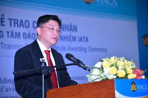 Ông Trương Phương Thành - Phó tổng giám đốc Công ty Dịch vụ Mặt đất Sân bay Việt Nam phát biểu khai mạc sự kiện.
