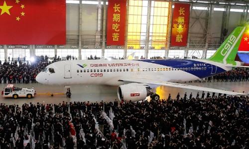 Máy bay C919 của Comac tại Thượng Hải (Trung Quốc). Ảnh: China Daily