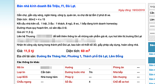 Thông tin rao bán nhà gần khu vực trung tâm Đà Lạt với giá gần 200 triệu đồng mộtm2