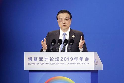 Thú tướng Trung Quốc - Lý Khắc Cường trong sự kiện sáng nay. Ảnh: Bloomberg