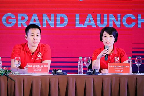 Ông Nguyễn Vũ Đức và bà Nguyễn Bảo Linh cùng xuất hiện trong ngày Go-Viet ra mắt tại Hà Nội vào tháng 9/2018.