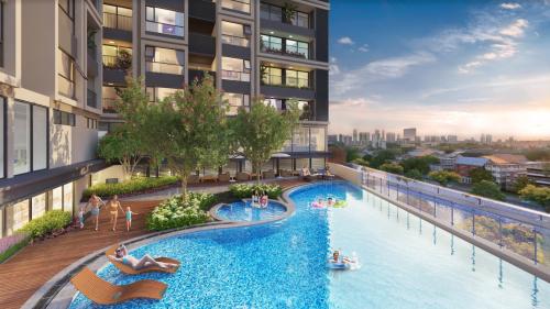Mỗi tòa căn hộ tại Hinode City đều có bể bơi riêng