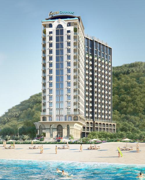 Phối cảnh tổng thể Oyster Gành Hào - dự án hứa hẹn nhiều tiềm năng trong bối cảnh nguồn cung khách sạn 4-5 sao tại Vũng Tàu còn khiêm tốn.