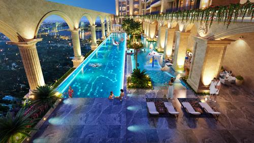 Phuc Khang Corporation biến toàn bộ tầng 6 tại Rome by Diamond Lotus trở thành resort tại gia với hồ bơi nước mặn vô cực tràn bờ rộng 1,100m2 và tổ hợp 16 tiện ích đẳng cấp khác.