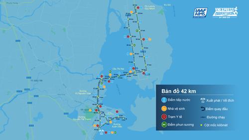 Sơ đồng đường chạy 42km của VM 2019.