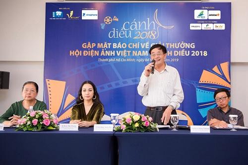 NSND Đặng Xuân Hải - Chủ tịch Hội Điện ảnh Việt Nam và Công ty CP truyền thông Vietart tại buổi Gặp mặt báo chí Giải thưởng Cánh diều 2018