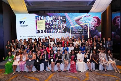CEO NutiFood Trần Thị Lệ (hàng dưới cùng bên trái) là một trong hai nữ doanh nhân Việt có tên trong danh sách của EWW 2019